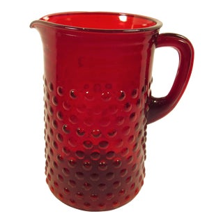 Vintage Anchor Hocking Royal Ruby Red Hobnail Glass Water Pitcher