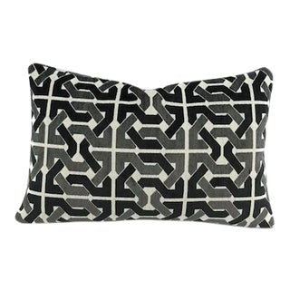 Groundworks David Hicks Cliffoney Black and Grey Lumbar Pillow Cover For Sale