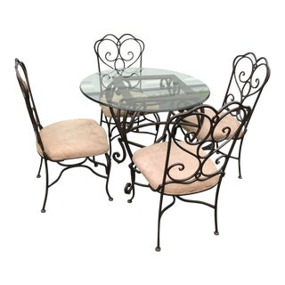 Porters of Racine Iron Lunch Table With Four Chairs For Sale