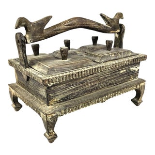 1900s Asian Hand Carved Wood Spice Box For Sale