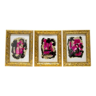 Pink and Black Abstract Art Set of Three, Framed For Sale