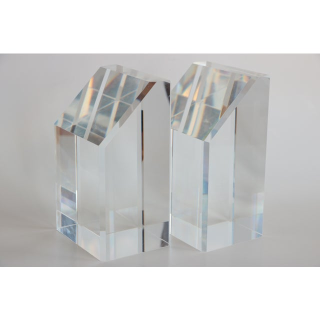 Faceted Lucite Bookends - A Pair - Image 10 of 10