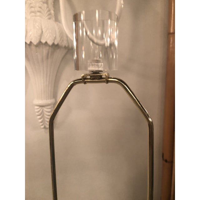 1970s Vintage Hollywood Regency White Lacquered Plaster Brass Lucite Draped Table Lamps - A Pair For Sale - Image 5 of 13