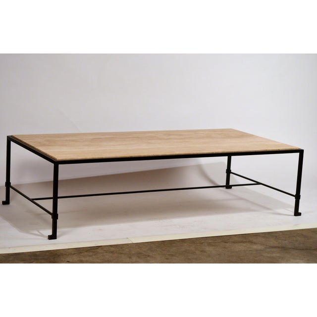Art Deco Long 'Diagramme' Wrought Iron and Travertine Coffee Table by Design Frères For Sale - Image 3 of 7