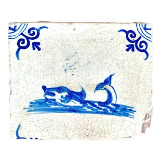Antique Dutch Delft Tile Blue and White Sea Monster 17th Century For Sale