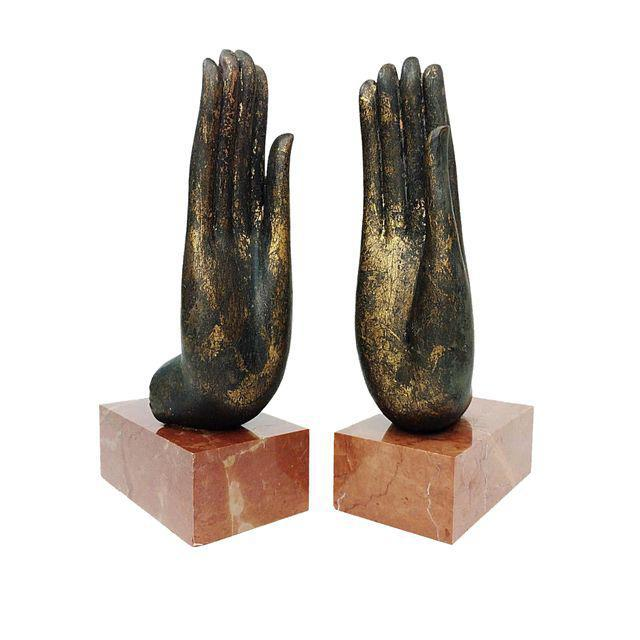 Mottahedeh Italian Bronze Hand & Marble Bookends-A Pair - Image 2 of 8