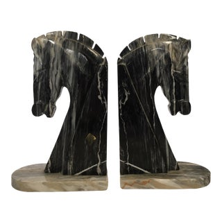 Vintage Mid-Century Marble Horse Head Bookends - a Pair For Sale