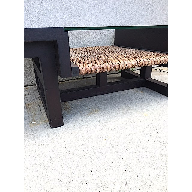 Mid-Century Glass and Rattan Coffee Table - Image 7 of 7
