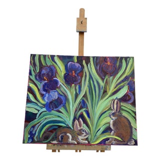 """""""Bunnies & Irises"""" Contemporary Flora and Fauna Oil Painting For Sale"""