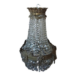Antique Bronze and Crystal Chandelier With Beautiful Bronze Rim Details For Sale