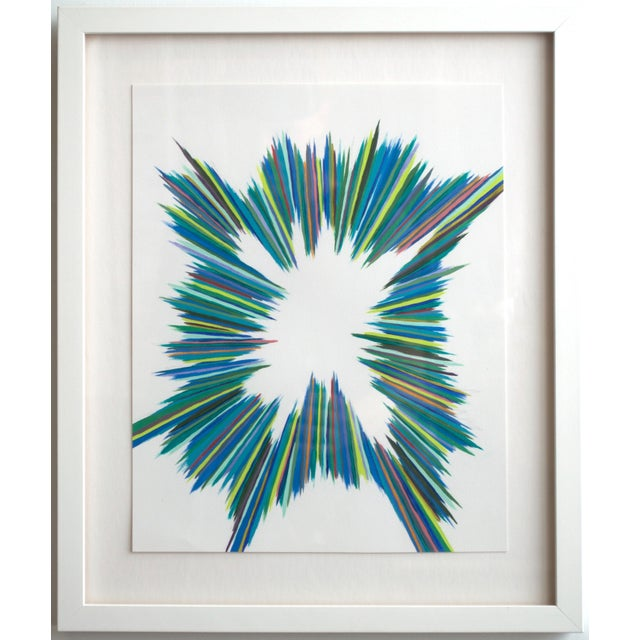 Radiating colors greens, blues and yellows emanate from this original, oil on paper painting. This beautiful painting...