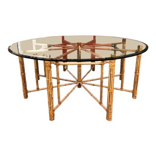 Vintage Round McGuire Bamboo + Glass Dining Table For Sale