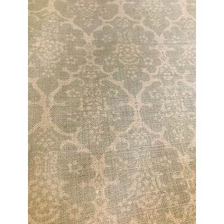 Beautiful Designer Linen Fabric in Ivory and Gray-Ish Blue For Sale