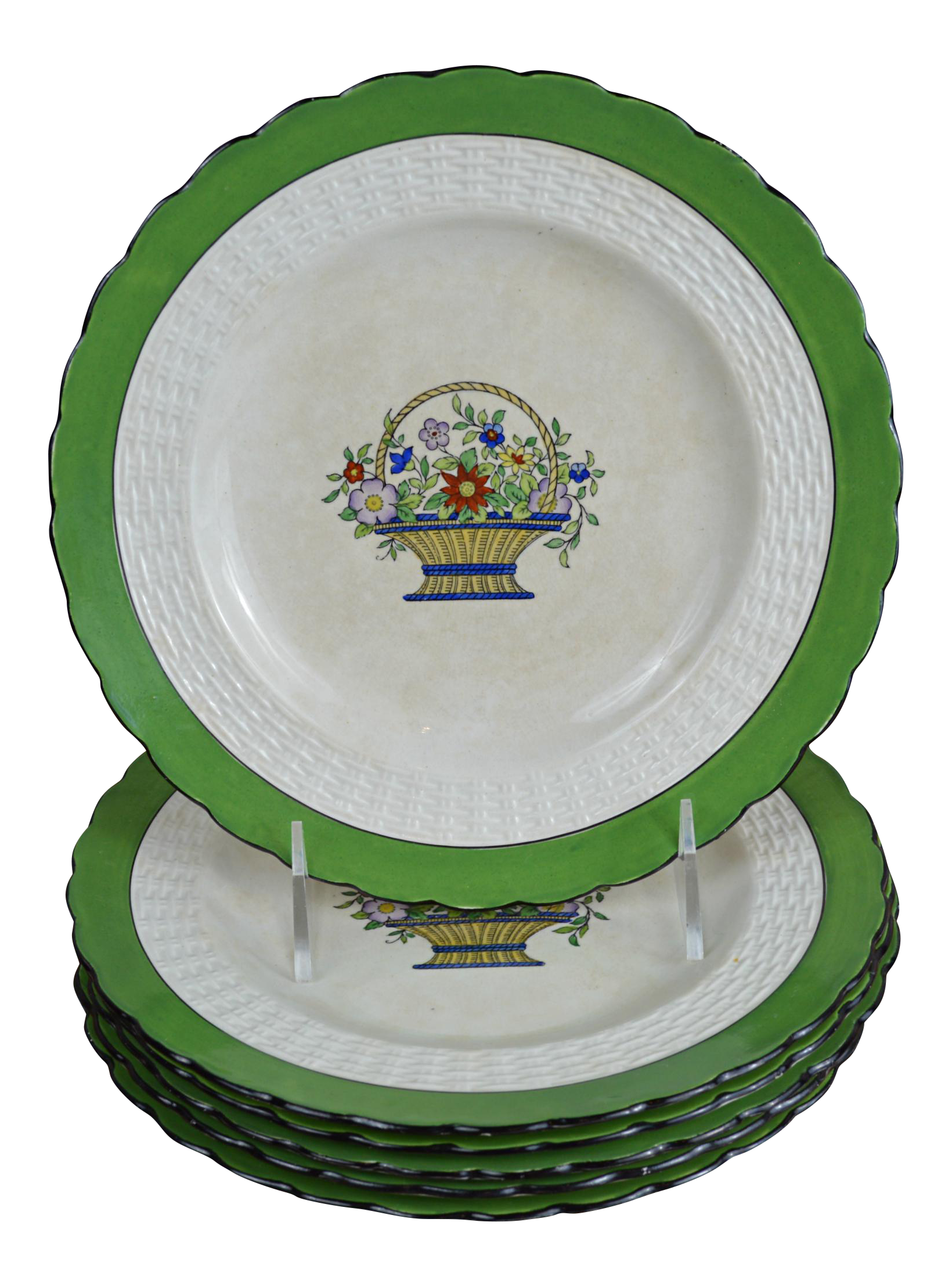 Early 20th Century English Minton Dessert Plates - Set of 6  sc 1 st  Chairish : green plate set - pezcame.com