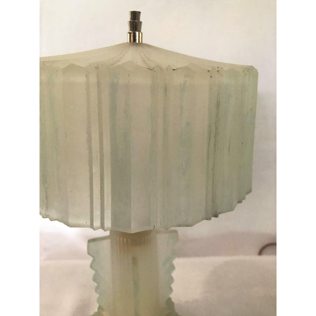 Stunning Pair of Art Deco Lalique Glass Lamps Nickle Finials Blue Perimeter For Sale - Image 5 of 8