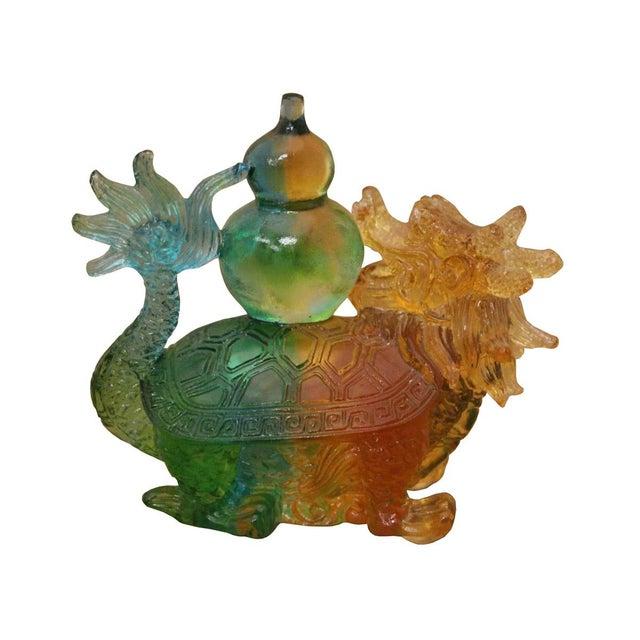 Crystal Glass Liuli Pate De Verre Dragon Turtle Carry Vase Feng Shui