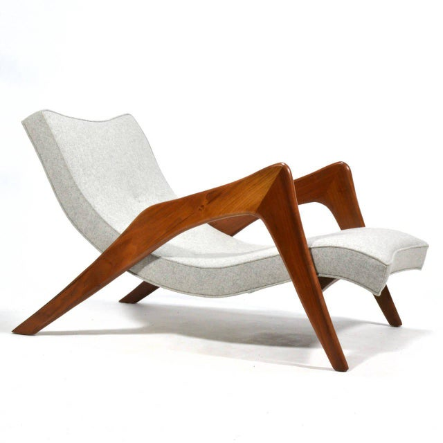 Adrian Pearsall Pair of Crescent Lounge Chairs and Ottomans For Sale - Image 10 of 10