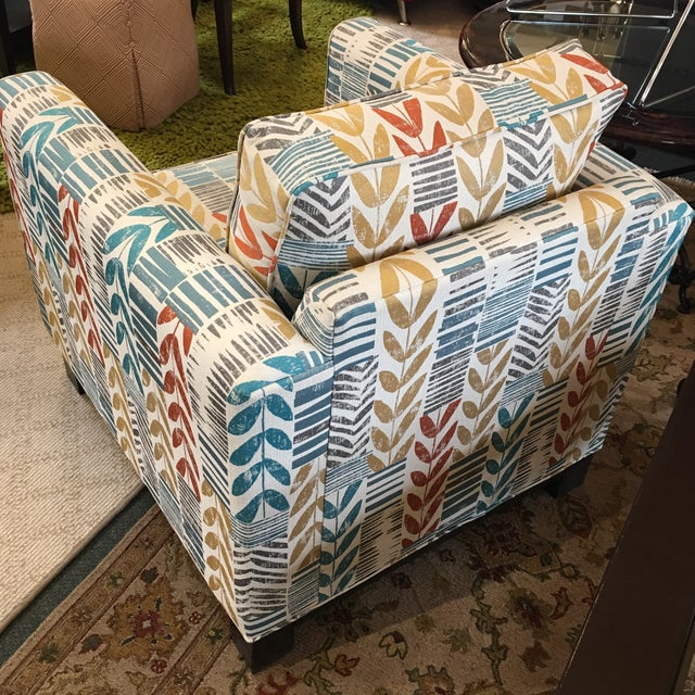 Custom Contemporary Leaf Motif Upholstered Arm Chair - Image 4 of 11