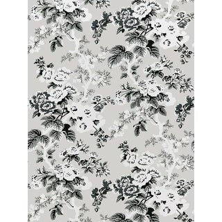 Scalamandre Ascot Floral Print, French Grey Wallpaper For Sale
