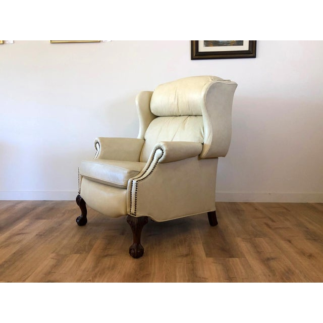 Hollywood Regency Vintage Bradington Young Leather Wingback Recliner For Sale - Image 3 of 13