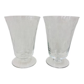 Pair Antique Etched Glass Goblets For Sale