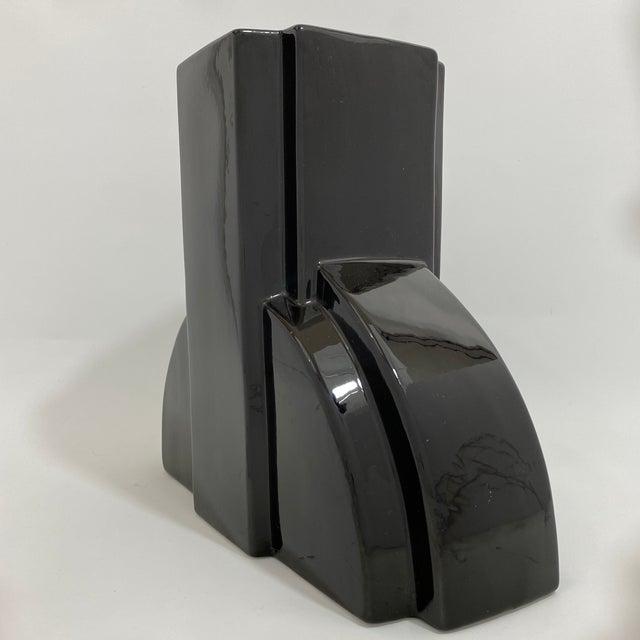 Postmodern Black Ceramic Vase For Sale In New York - Image 6 of 13