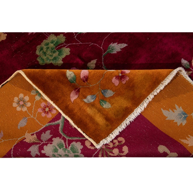 Art Deco Early 20th Century Antique Art Deco Chinese Wool Rug 9 X 11 For Sale - Image 3 of 13