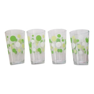 1960's -1970's Libbey Polka Dot Lime & Celery Green Sturdy Water Glasses - Set of 4 For Sale