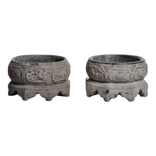 Antique Chinese Stone Basins - a Pair For Sale