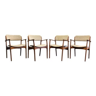 Erik Buch for Mobler Model 49 Danish Mid Century Modern Teak Arm Chairs - Set of 4