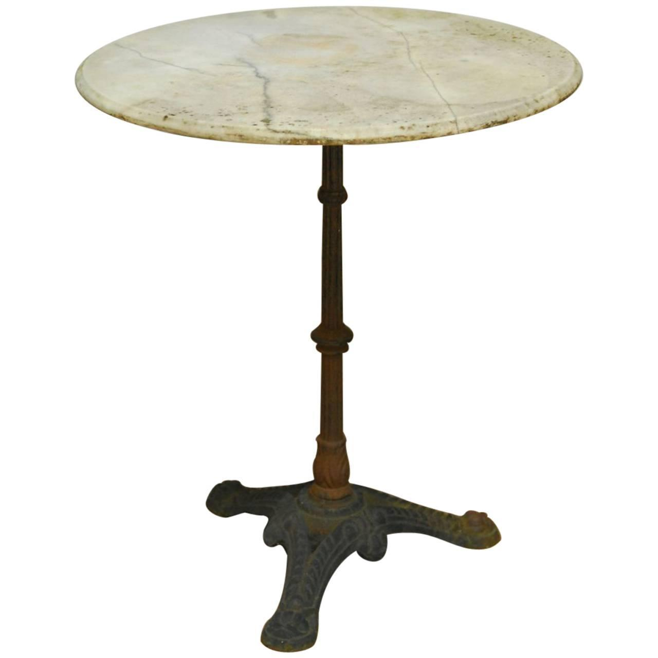 French Parisian Marble Top Bistro Table