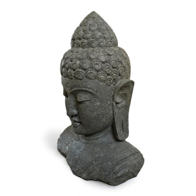 Elegant stone carved Buddha bust with peaceful expression. Perfect accent piece for your home or garden. Weight approx....