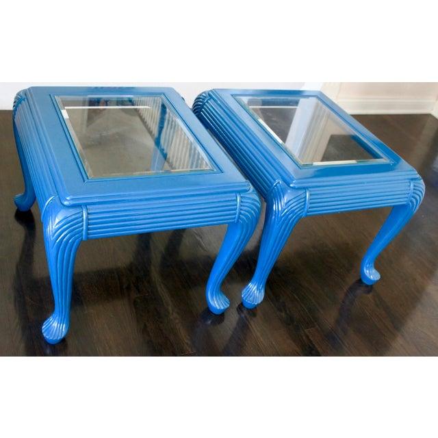 Blue Vintage Art Deco/Nouveau Skyscraper Peacock Blue Glass Side Tables- A Pair For Sale - Image 8 of 8