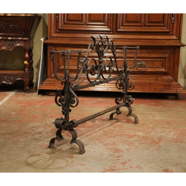 Metal Important 18th Century French Gothic Wrought Iron Fireplace Screen With Landiers For Sale - Image 7 of 9