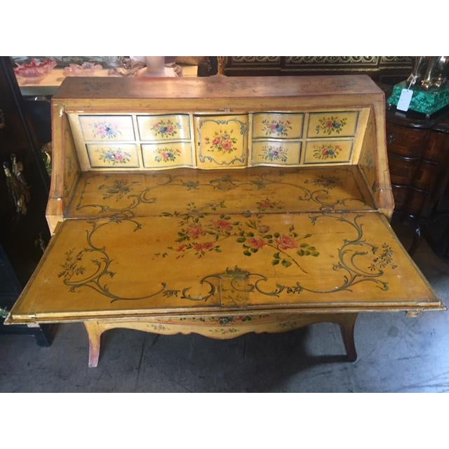 Yellow Late 19th Century Italian Painted Commode/ Slant Front Writing Desk For Sale - Image 8 of 13