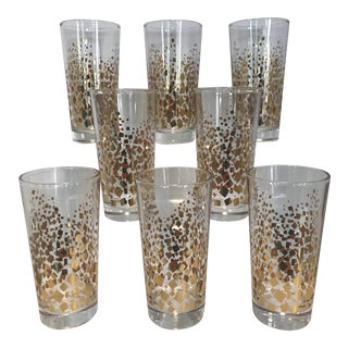 1970s Vintage Gold Confetti Tall Tumbler Highball Cocktail Bar Glasses - Set of 8 For Sale