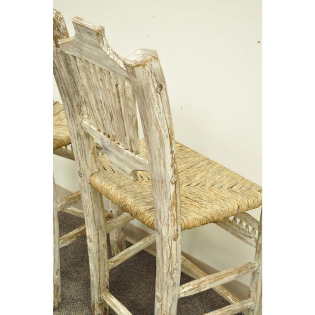 Rush 2 Rustic Country Log Cabin Wood Branch Rush Seat Bar Stools Chair Hickory Style For Sale - Image 7 of 11