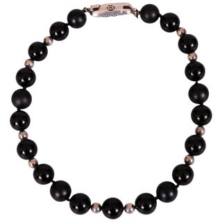 Cartier Necklace Matte and Shiny Onyx, Sterling Silver Beads Silver & 14k Gold Clasp For Sale