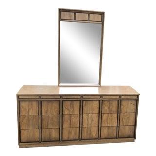 Bassett Mid Century Modern Lowboy with Mirror For Sale
