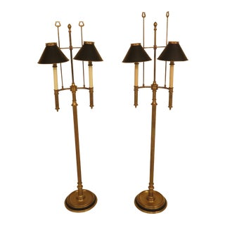 Chapman Brass Floor Lamps With Black Tole Shades - a Pair For Sale