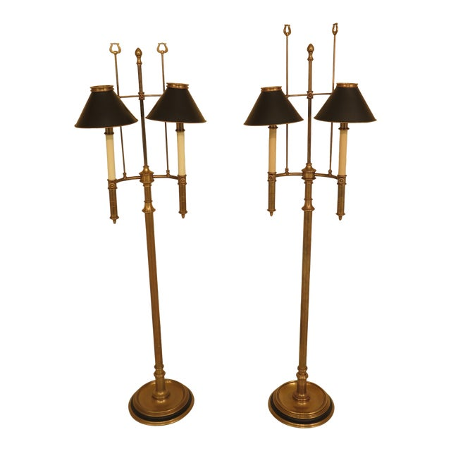 88f194c14a796 Chapman Brass Floor Lamps With Black Tole Shades - a Pair For Sale