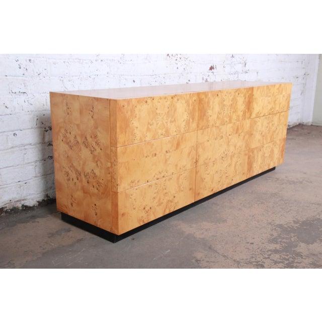 Mid-Century Modern Milo Baughman Burled Olive Wood Long Dresser or Credenza For Sale - Image 3 of 12