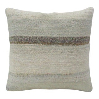 Vintage Handmade Beige Striped Kilim Pillow Cover For Sale
