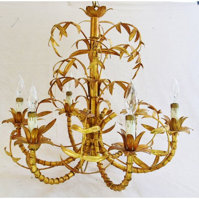 Vintage Italian Six-Arm/Light Gold Gilt Bamboo Tole Chandelier - Image 7 of 11
