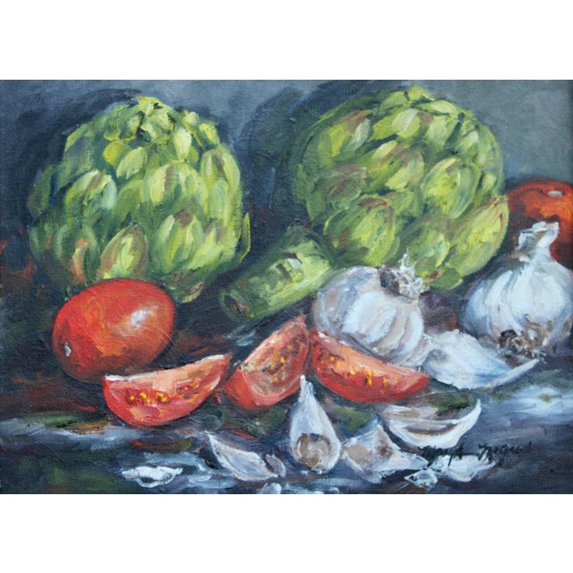 Artichoke Vegetable Still Life Original Oil Painting For Sale - Image 9 of 11