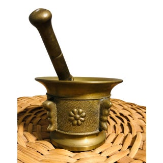 Antique Brass Mortar & Pestle For Sale