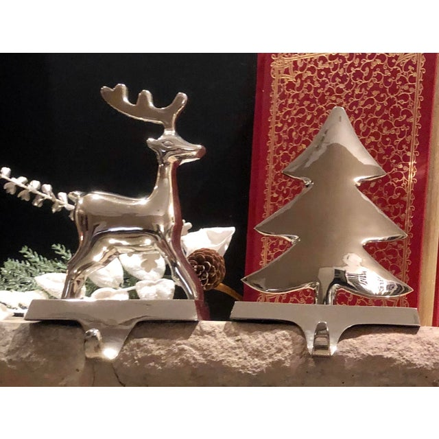 Vintage Silver Stocking Hooks Pottery Barn Hangers Snowman and Tree - Set of 2 For Sale - Image 12 of 13