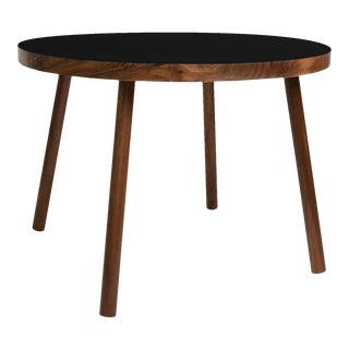 "Poco Small Round 23.5"" Kids Table in Walnut With Black Top For Sale"