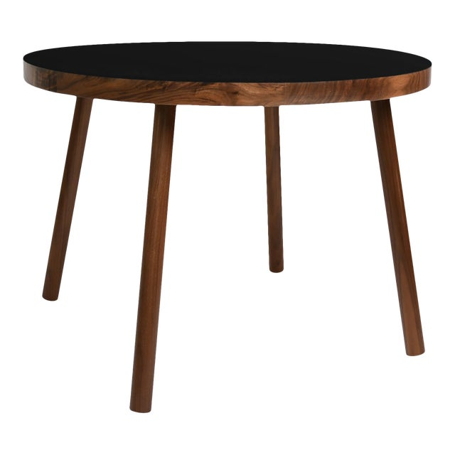 """Poco Small Round 23.5"""" Kids Table in Walnut With Black Top For Sale"""