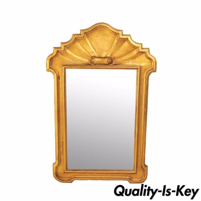 1950's Italian Carved Wood Gold Scroll Shell Form Wall Console Decorator Mirror - Image 9 of 9